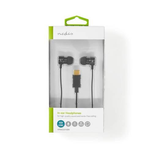 Nedis HPWD2070BK In-Ear Koptelefoon | USB-CT | Kabel 1,2 m | Spraakassistent | Zwart