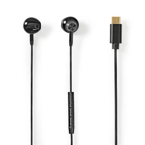 Nedis HPWD2071BK In-Ear Headphones | USB-CT | 1.2 m Cable | Voice Assistant | Black
