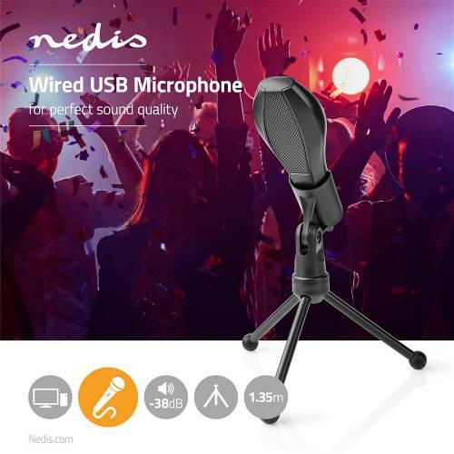 Nedis MICTU100BK Bedrade Microfoon | Dubbele Condensator | Met Standaard | USB