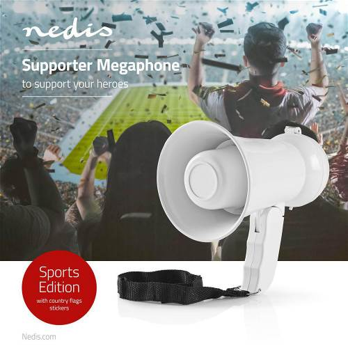 Nedis MEPH2020WT Supportersmegafoon   100 dB   100 m Bereik   Landenstickers   Wit