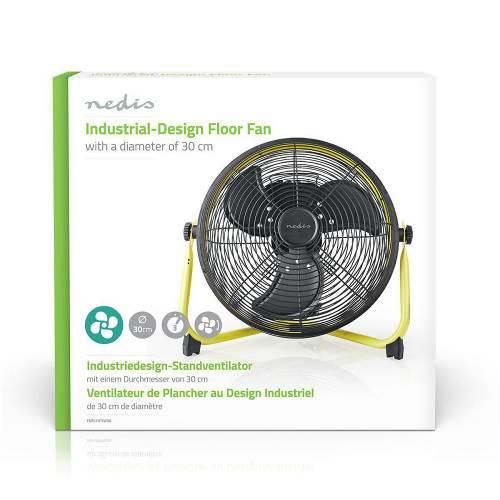 Nedis FNFL11FYW30 Vloerventilator Industrieel Design   Diameter 30 cm   3 Snelheden   Geel / Zwart