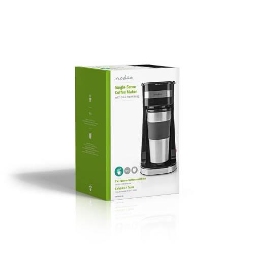 Nedis KACM300FBK 1-Kops Koffiezetapparaat | Dubbelwandige Reisbeker | 0,42 L | Zwart